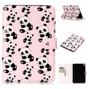 Pattern Printing Embossed Leather Protective Phone Case for iPad mini 4 - Panda
