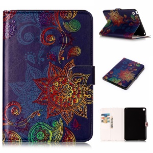 Pattern Printing Embossed Leather Protective Phone Case for iPad mini 4 - Mandala