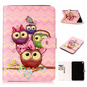 Pattern Printing Embossed Leather Protective Phone Case for iPad mini 4 - Owl