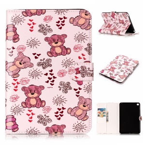 Pattern Printing Embossed Leather Protective Phone Case for iPad mini 4 - Bear