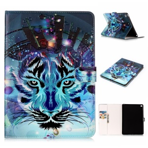 Pattern Printing Embossed Leather Protective Case for iPad Air 2 - Tiger