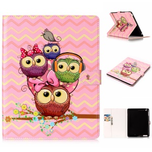 Pattern Printing Embossed Leather Protective Tablet Cover for iPad 2 / 3 / 4 - Cute Owls