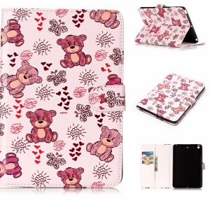 Pattern Printing Embossed Leather Protective Case with Stand for iPad mini 1 / 2 / 3 - Bear