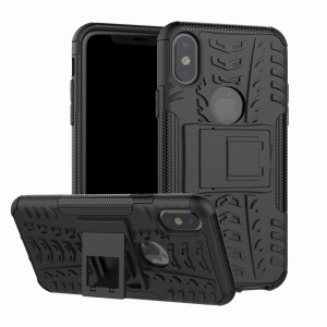 2-in-1 Tyre Pattern Kickstand PC + TPU Hybrid Phone Casing Cover for iPhone X/XS 5.8 inch - Black