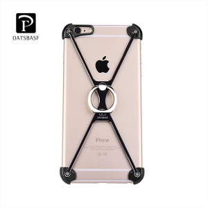 OATSBASF X Shaped Metal Laser Carving Frame Case with Ring Holder for iPhone 6s / 6 - Black