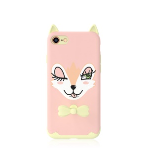 KAVARO Rubberized Adorable Cartoon Pattern Hybrid  PC + Silicon Phone Shell for iPhone 8/7/SE 2 (2020) - Pink