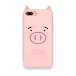 KAVARO Rubberized Adorable Cartoon Pattern PC + Silicon Mobile Phone Back Shell for iPhone 8 Plus / 7 Plus 5.5 inch - Pink Pig