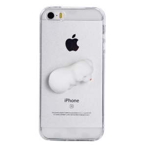 Squishy 3D Silicone Cartoon Clear TPU Squeeze Back Case for iPhone SE/5s/5 - Sleeping Cat