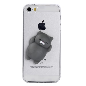 For iPhone SE/5s/5 Squishy 3D Silicone Cartoon Clear TPU Squeeze Phone Back Cover - Grey Cat