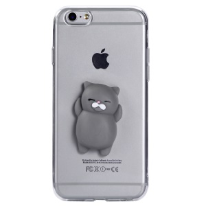 3D Silicone Squishy Cartoon Clear TPU Protection Back Shell for iPhone 6s / 6 4.7 inch - Grey Cat