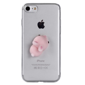 3D Silicone Cartoon Clear TPU Squishy Squeeze Soft Case for iPhone 8 / 7 4.7 inch - Rabbit