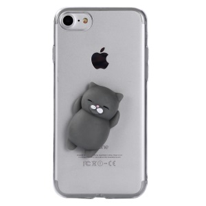 3D Silicone Squishy Cartoon Clear TPU Protection Mobile Casing for iPhone 8 / 7 4.7 inch - Grey Cat