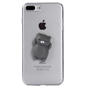 Squishy 3D Silicone Cartoon Clear TPU Squeeze Back Case for iPhone 8 Plus / 7 Plus 5.5 inch - Grey Cat