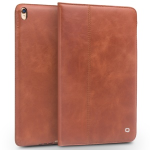 QIALINO Waxed Cowhide Leather Smart Flip Stand Case Cover for iPad Air 10.5 (2019) / Pro 10.5-inch (2017) - Brown