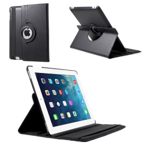 For iPad 4/3/2 Litchi Grain 360 Degree Rotary Stand Leather Tablet Case - Black