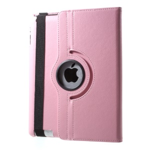 For iPad 4/3/2 Litchi Grain 360 Degree Rotary Leather Stand Case - Pink