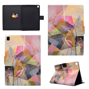 Auto-wake/sleep Patterned PU Leather Card Slot Stand Protective Shell for iPad Pro 9.7 - Flamingo
