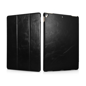 ICARER Auto-wake/sleep Genuine Leather Tri-fold Stand Case for iPad Pro 12.9 (2017) - Black