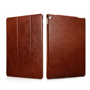 ICARER Awaken Genuine Leather Tri-fold Stand Shell for iPad Pro 12.9 (2017) - Brown