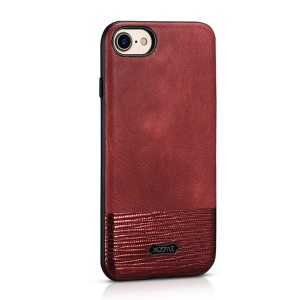 XOOMZ Stitched Embossed Silk Texture PU Leather Coated TPU Cover for iPhone SE 2nd Gen (2020)/8/7 4.7 inch - Red