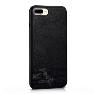 XOOMZ Stitched Embossed Silk Texture  PU Leather Back Casing for iPhone 7 Plus - Black