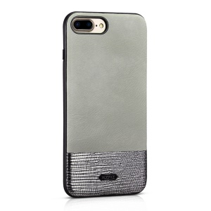 XOOMZ Stitched Embossed Silk Texture PU Leather Coated TPU Case for iPhone 7 Plus 5.5 - Silver