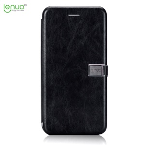 LENUO Crazy Horse PU Leather Card Holder Shell móvel para iPhone 8 Plus / 7 Plus 5.5-polegada - negro