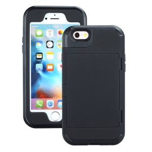 Drop-resistant PC + TPU Kickstand Combo Case with Card Holder for iPhone 6/6s 4.7-inch - Black