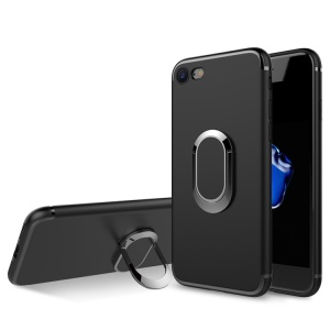 Matte Finish Ring Holder Kickstand Flexible TPU Case with Built-in Magnetic Metal Sheet for iPhone 8 / 7 4.7 inch - Black