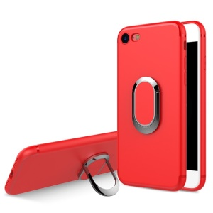 For iPhone 8 / 7 4.7 inch Frosted Ring Finger Grip Kickstand Soft TPU Back Cover with Built-in Magnetic Metal Sheet - Red