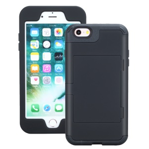 Card Slot TPU + PC Combo Phone Case for iPhone 6 Plus / 6s Plus - Black