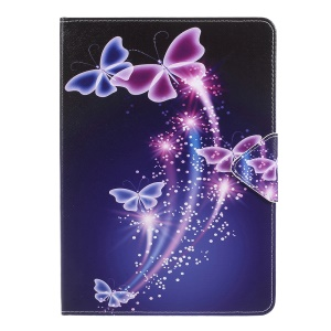 Pattern Printing PU Leather Wallet Stand Cross Texture Case for iPad 9.7 inch (2018)/9.7 (2017) - Shinning Butterfly
