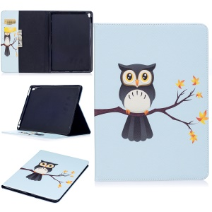 Patterned PU Leather Wallet Stand Protective Shell for iPad Pro 9.7 - Owl on Branch