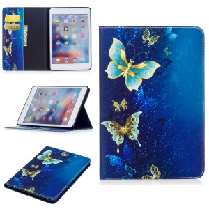 Patterned Wallet Leather Cover Case with Stand for iPad mini 4 - Elegant Butterflies