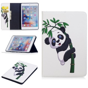 For iPad mini 4 Pattern Printing Wallet Leather Stand Protection Case - Panda  on Bamboo