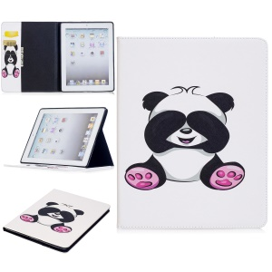 Pattern Printing Wallet Leather Protection Flip Cover with Stand for iPad 4/3/2 - Cute Panda