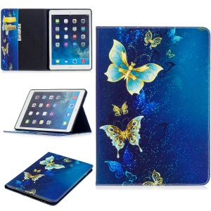 Pattern Printing Wallet Leather Protection Flip Stand Cover for iPad Air - Elegant Butterflies