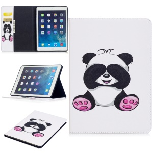 Pattern Printing Card Slots Stand Leather Protective Case Shell for iPad Air - Cute Panda