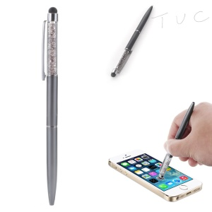 Rhinestone Decorated Stylus Pen with Ball Point Pen Feature for iPhone Samsung Sony etc - Grey