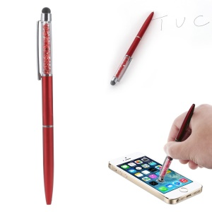 Rhinestone Decorated Stylus Pen with Ball Point Pen Feature for iPhone Samsung Sony etc - Red