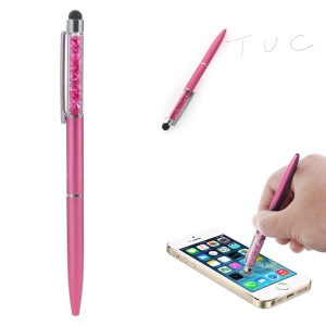 Rhinestone Decorated Stylus Pen with Ball Point Pen Feature for iPhone Samsung Sony etc - Rose