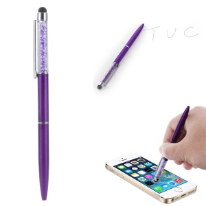 Rhinestone Decorated Stylus Pen with Ball Point Pen Feature for iPhone Samsung Sony etc - Purple