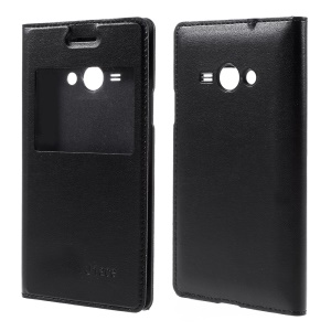 View Window Battery Housing Leather Case for Samsung Galaxy J1 Ace - Black