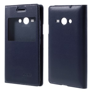 For Samsung Galaxy J1 Ace View Window Battery Housing Leather Shell - Dark Blue