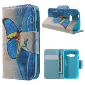 Stand Leather Case Wallet for Samsung Galaxy Trend 2 Lite G318H / V Plus G318 / Trend 2 G313 - Blue Butterfly