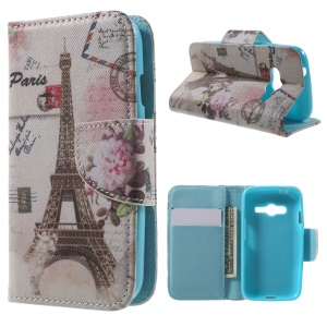 Wallet Stand Leather Case for Samsung Galaxy Trend 2 Lite G318H / V Plus G318 / Trend 2 G313 - Eiffel Tower & Stamp