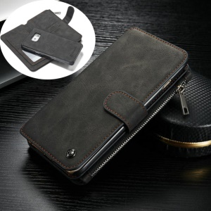 CASEME 14 Slots Wallet 2-in-1 Genuine Split Leather Case for Samsung Galaxy S6 edge Plus G928 - Black