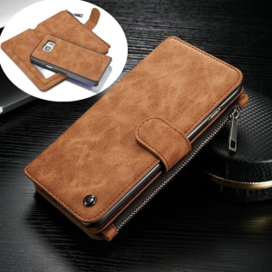 CASEME 2-in-1 14 Slots Genuine Split Leather Wallet Case for Samsung Galaxy S6 edge Plus G928 - Brown