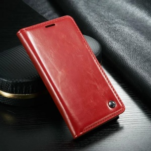CASEME Oil Wax Wallet Leather Shell Case for Samsung Galaxy S6 G920 - Red
