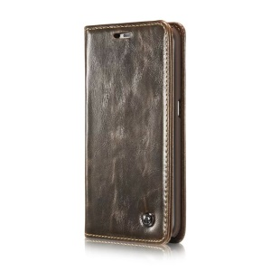 CASEME Oil Wax Wallet Leather Flip Phone Case for Samsung Galaxy S6 Edge G925 - Brown